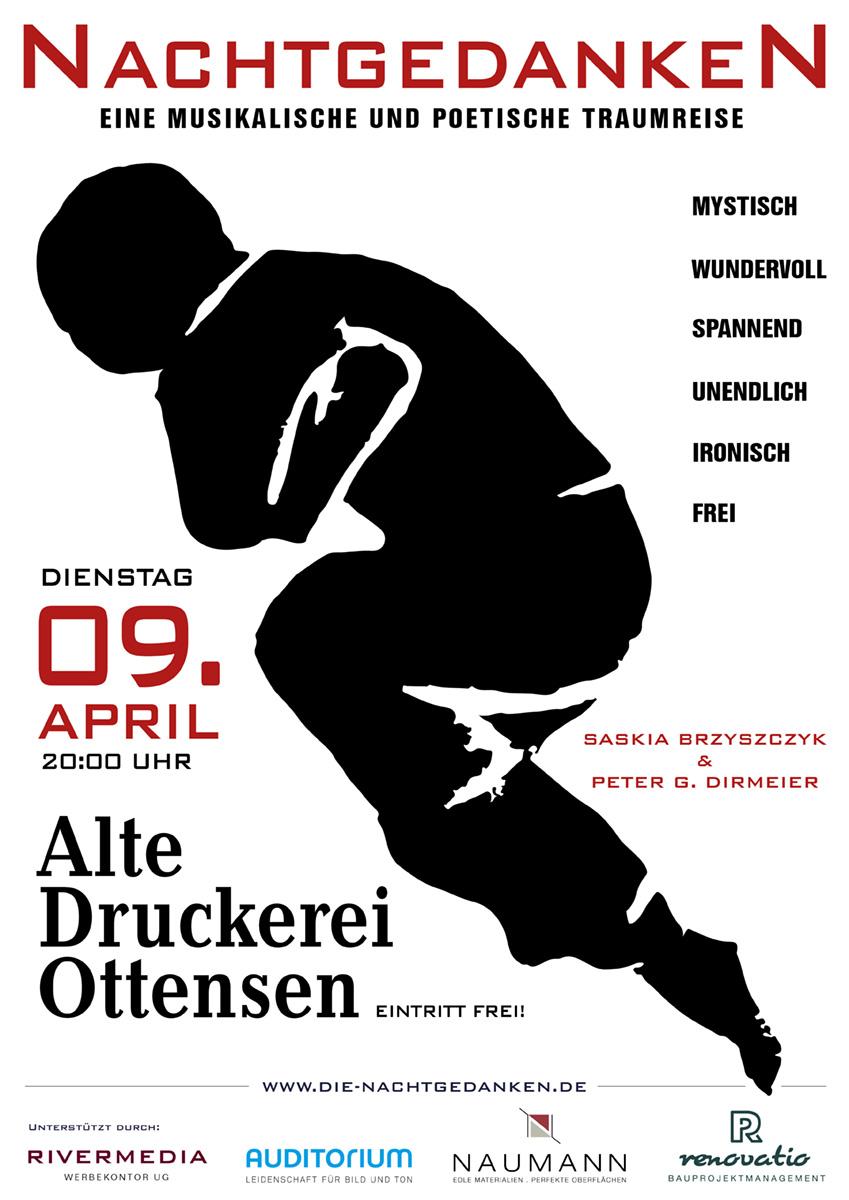 Plakat zu den Nachtgedanken am 09 April in der alten Druckerei Ottensen