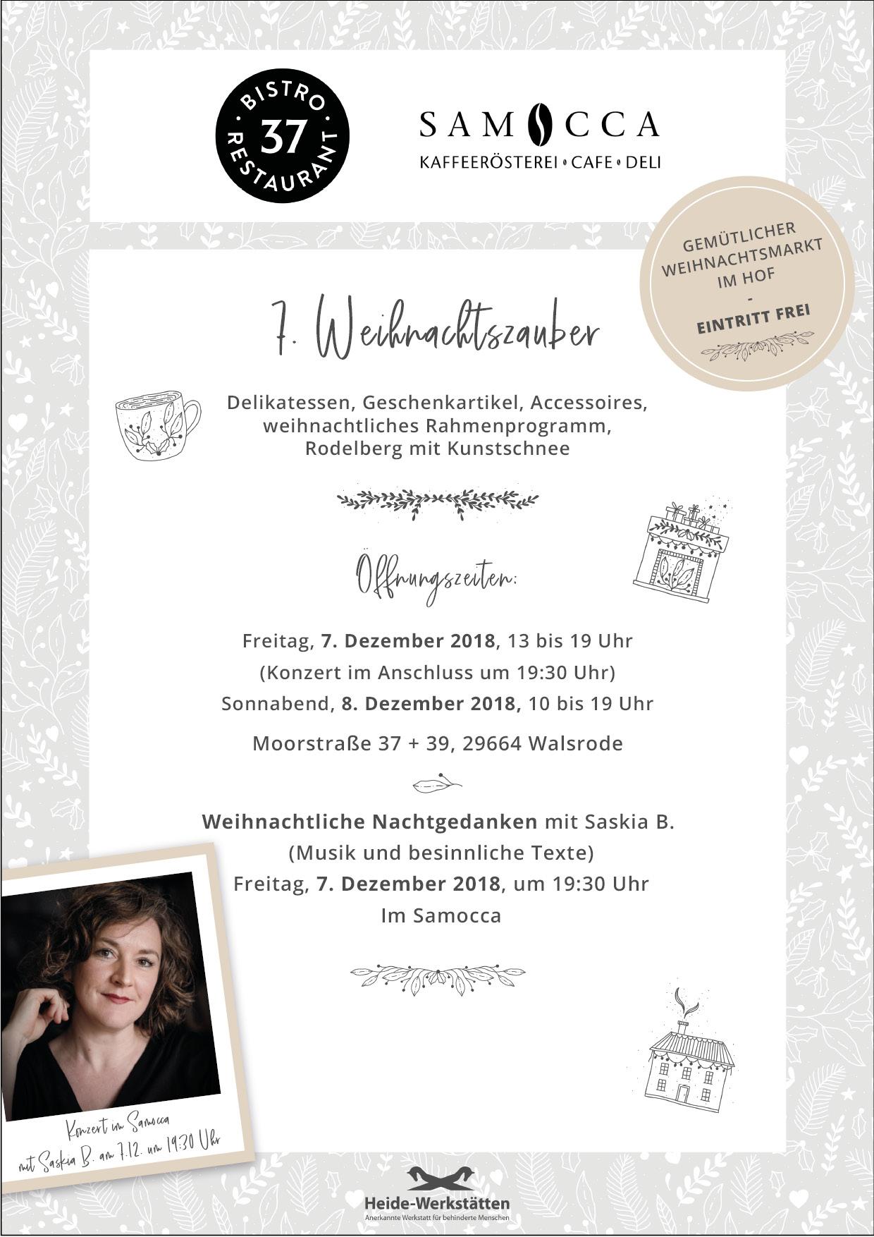 Plakat Weihnachtszauber, Samocca Walsrode